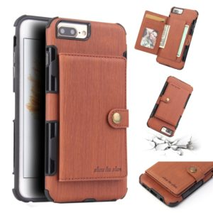 For iPhone 6s Plus / 6 Plus Brushed Texture Shockproof PU + TPU Case, with Card Slots & Wallet & Photo Frame(Brown)