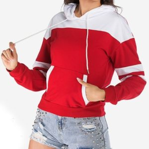 Stitching Hit Color Hooded Women Sweatshirt (Color:Red Size:S)