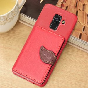 Leaf Style Magnetic Leather Case for Galaxy A8+ (2018), with Holder & Card Slots & Wallet & Photo Frame (Red)