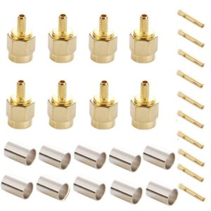 10 PCS Gold Plated Crimp RP-SMA Male Plug Pin RF Connector Adapter