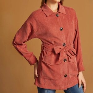 Women Pocket Corduroy Long Sleeve Coat (Color:Red Size:S)