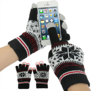 Multifunctional Three Fingers Touch Screen Wool Warm Gloves, For iPhone, Galaxy, Huawei, Xiaomi, LG, HTC and Other Smart Phones(Black)