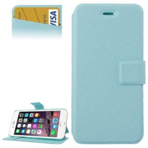 Silk Texture Horizontal Flip Leather Case with Card Slots & Holder for iPhone 6 Plus & 6S Plus(Blue)