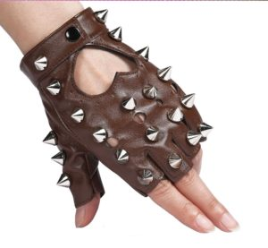 Children Punk Rivet Faux Leather Glove Kids DS Dancing Rock and Roll Jazz Half Finger Glove(Brown)