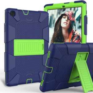 Shockproof Two-Color Silicone Protection Case with Holder for Galaxy Tab A 10.1 (2019) / T510(Dark Blue+Green)