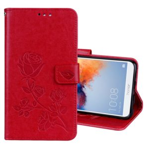 For Huawei Honor 7X Rose Embossed Horizontal Flip Environmental PU Leather Case with Holder & Card Slots & Wallet(Red)