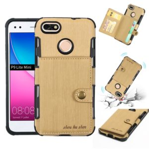 For Huawei P9 Lite mini Brushed Texture Shockproof PU + TPU Case, with Card Slots & Wallet & Photo Frame(Gold)