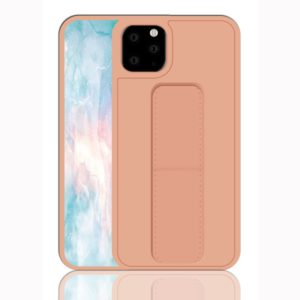For iPhone 11 Pro Max Shockproof PC + TPU Protective Case with Wristband & Holder(Rose Gold)