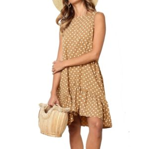 Printing flounced Dot Pattern Dress (Color:Khaki Size:S)