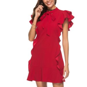 Stand Collar Bow Wooden Ear Trim Dress (Color:Red Size:M)