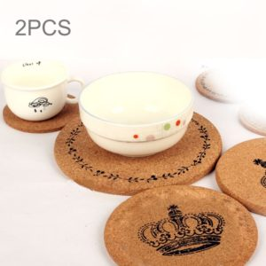 2 PCS Round Cork Coasters Cup Cushion Holder Drink Cup Place Mat Coffee Coasters Wooden Holder Pad Crown Pattern Cup Mat Round Cork Coaster, Size: 10*0.5cm