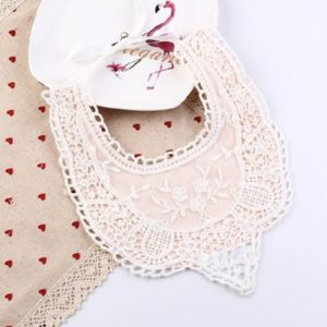 Cotton Lace Female Baby Bib Princess Bib Saliva Towel 360 Degree Rotation Child Fake Collar Decoration, Color:Mesh Lace Pink