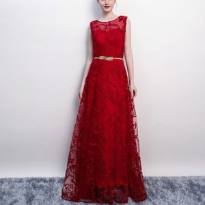 Banquet Lace Sleeveless Long Party Formal Gown, Size:XXL(Wine Red)