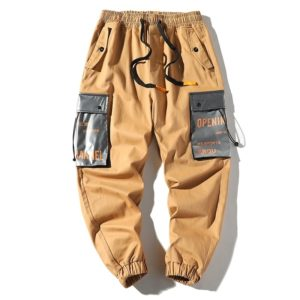 Loose Multi-pockets Pants Hip-hop Casual Overalls for Men (Color:Khaki Size:L)