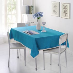 Decorative Tablecloth Imitation Linen Lace Table Cloth Dining Table Cover, Size:110x160cm(Lake Blue)