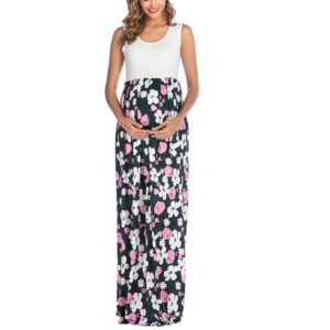 Sleeveless Printed Patchwork Maternity Dress (Color:Black Size:XXL)