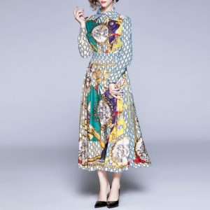 Fashion Printed Long-sleeved Personality Casual Dress (Color:As Show Size:XL)