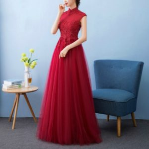 Chinese Wedding Dress Bride Long Cheongsams Party Dresses, Size:L(Red)