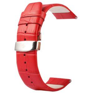 Kakapi for Apple Watch 38mm Crocodile Texture Double Buckle Genuine Leather Watchband, Only Used in Conjunction with Connectors (S-AW-3291)(Red) (Kakapi)