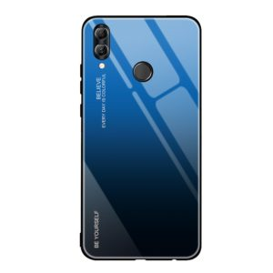 Huawei P Smart 2019 Gradient Glass Durable Cover with Tempered Glass Back black-blue