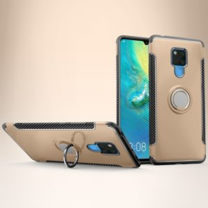 Shockproof Car Magnetic Case with 360 Degree Rotating Armor Ring for Huawei Mate 20 X(Gold)