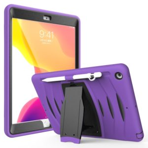 For iPad 10.5 2019 360 Degree Rotation PC + Silicone Protective Case with Holder & Hand-strap(Purple)
