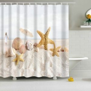 2 PCS Colorful Beach Conch Starfish Shell Polyester Washable Bath Shower Curtains, Size:180X180cm(Beach Shell)