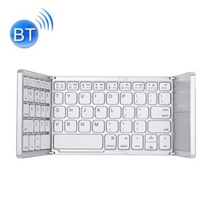 B033 Rechargeable 3-Folding 64 Keys Bluetooth Wireless Keyboard with Touchpad (White)