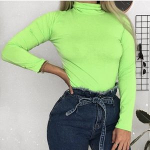 Fluorescent High Collar Knit Bottoming Shirt Top (Color:Green Size:L)