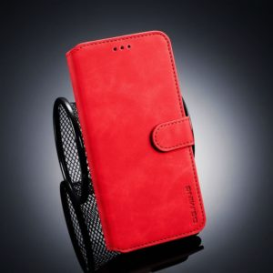 DG.MING Retro Oil Side Horizontal Flip Case for Huawei Y9 (2019), with Holder & Card Slots & Wallet (Red) (DG.MING)