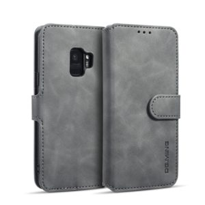 DG.MING Retro Oil Side Horizontal Flip Case with Holder & Card Slots & Wallet for Galaxy S9(Grey) (DG.MING)