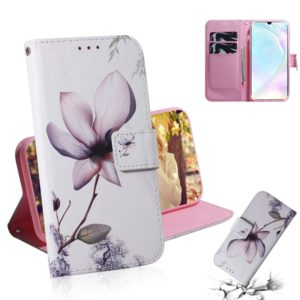 Magnolia Flower Pattern Coloured Drawing Horizontal Flip Leather Case for Huawei P30, with Holder & Card Slots & Wallet