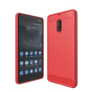 For Nokia 6 Brushed Carbon Fiber Texture Shockproof TPU Protective Cover Case (Red)