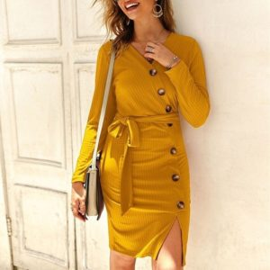 V-neck Long Sleeve Knitted Dress (Color:Yellow Size:XL)