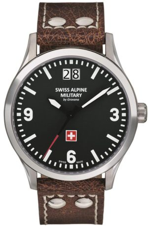 SWISS ALPINE MILITARY 1744.1537SAM Big Date Brown Leather Strap