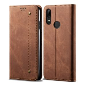 For Huawei P Smart Z / Y9 Prime Denim Texture Casual Style Horizontal Flip Leather Case with Holder & Card Slots & Wallet(Brown)