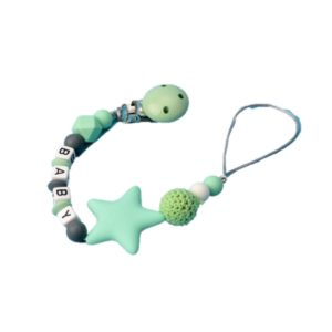 3 PCS DIY Silicone Baby Pacifier Clip Colorful Pacifier Chain(light green)