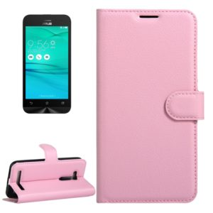For Asus ZenFone GO / ZB452KG Litchi Texture Horizontal Flip Leather Case with Magnetic Buckle & Holder & Card Slots & Wallet(Pink)