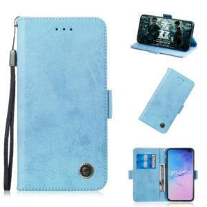 Multifunctional Horizontal Flip Retro Leather Case with Card Slot & Holder for Galaxy S10(Sky Blue)