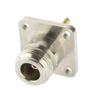 Coaxial RF N Female Adapter with Square Plate(Silver)