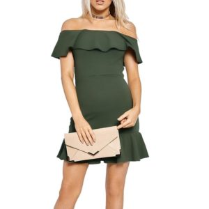 Solid Color Collar Strapless Flounced Dress (Color:Green Size:L)