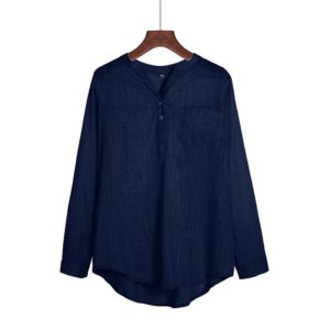 Solid Color Wild Long Sleeved Collar Pullover Ladies Professional Shirt, Size: S(Navy Blue)