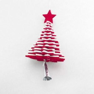 2 PCS Creative Flannel Bell Ornaments Christmas tree Metal Decorative Pendants Ornaments(Red and White Bell Pendant )