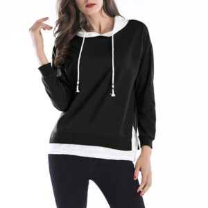 Hooded Long Sleeve Casual Loose Sweatshirt (Color:Black Size:XXL)