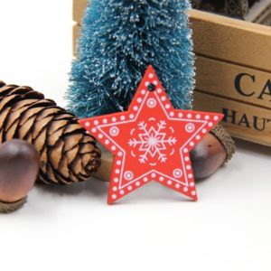 3 PCS DIY Wooden Crafts Pendants Ornaments For Christmas Party Xmas Tree Ornaments(Star)