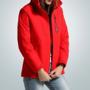 Autumn and Winter Men and Women Smart Heating Jacket Carbon Fiber Heating Travel Jacket, Size:M(Women Red)