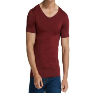 Men Ice Silk Quick Dry T-shirt Short Sleeve V Neck Solid Color Seamless Breathable Top, Size:XXL(Wine Red)