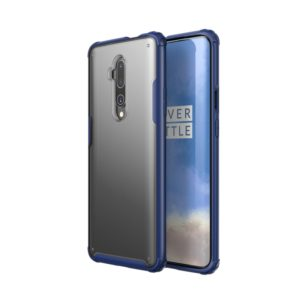 For OnePlus 7T Pro Four Corners Anti-Fall Acrylic +TPU Transparent Frosted Armor Protective Case(Blue)