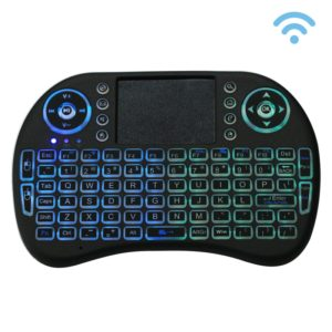2.4GHz Mini i8 Wireless QWERTY Keyboard with Colorful Backlight & Touchpad & Multimedia Control for PC, Android TV BOX, X-BOX Player, Smartphones(Black)