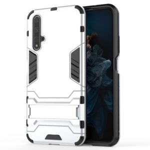 Shockproof PC + TPU Case for Huawei Honor 20, with Holder (Silver)